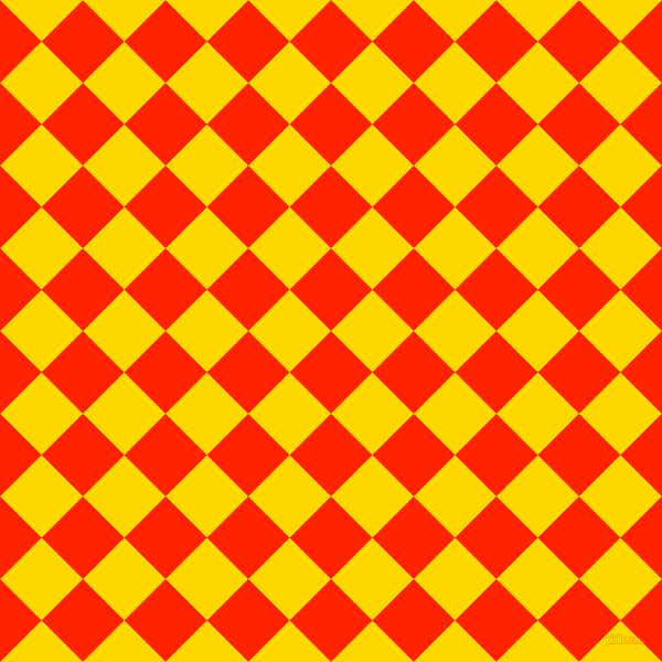 45/135 degree angle diagonal checkered chequered squares checker pattern checkers background, 53 pixel square size, Scarlet and Gold checkers chequered checkered squares seamless tileable