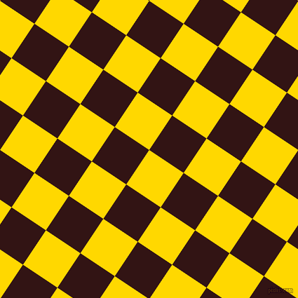56/146 degree angle diagonal checkered chequered squares checker pattern checkers background, 59 pixel square size, , School Bus Yellow and Seal Brown checkers chequered checkered squares seamless tileable