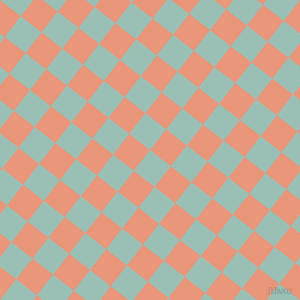 52/142 degree angle diagonal checkered chequered squares checker pattern checkers background, 37 pixel squares size, , Shadow Green and Dark Salmon checkers chequered checkered squares seamless tileable