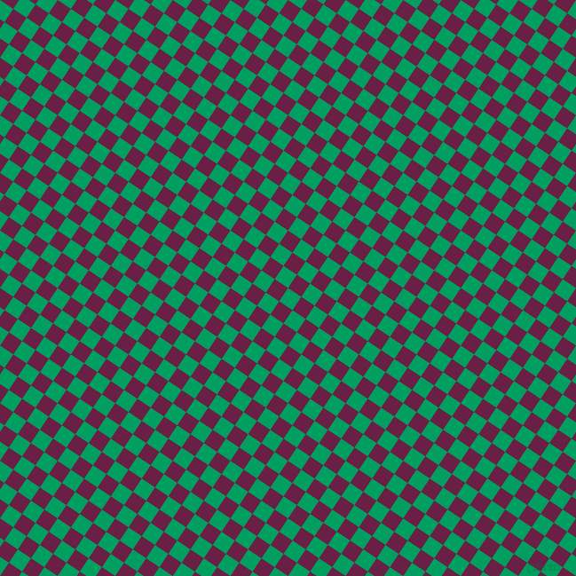 56/146 degree angle diagonal checkered chequered squares checker pattern checkers background, 18 pixel squares size, , Shamrock Green and Pompadour checkers chequered checkered squares seamless tileable