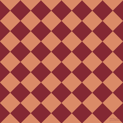 45/135 degree angle diagonal checkered chequered squares checker pattern checkers background, 48 pixel square size, , Shiraz and Copper checkers chequered checkered squares seamless tileable