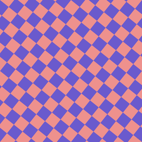 51/141 degree angle diagonal checkered chequered squares checker pattern checkers background, 43 pixel square size, , Slate Blue and Sweet Pink checkers chequered checkered squares seamless tileable