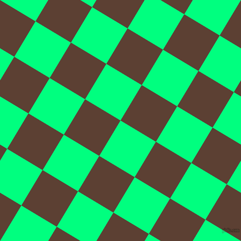 59/149 degree angle diagonal checkered chequered squares checker pattern checkers background, 85 pixel squares size, , Spring Green and Very Dark Brown checkers chequered checkered squares seamless tileable