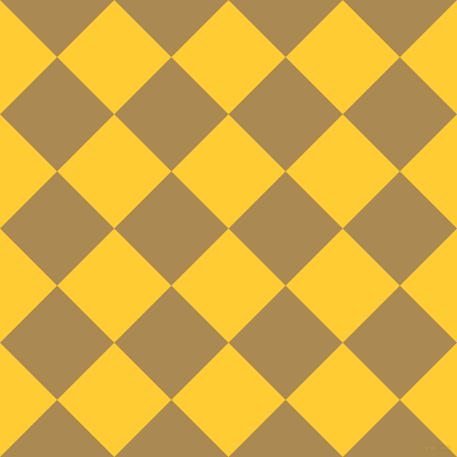 45/135 degree angle diagonal checkered chequered squares checker pattern checkers background, 114 pixel square size, Sunglow and Teak checkers chequered checkered squares seamless tileable