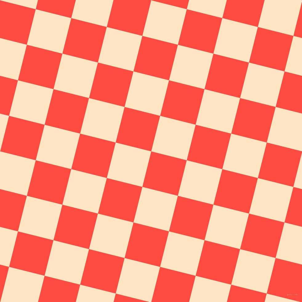 76/166 degree angle diagonal checkered chequered squares checker pattern checkers background, 119 pixel squares size, , Sunset Orange and Bisque checkers chequered checkered squares seamless tileable