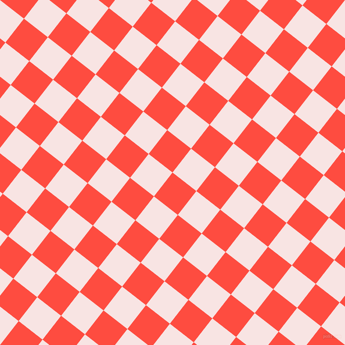 52/142 degree angle diagonal checkered chequered squares checker pattern checkers background, 59 pixel square size, , Sunset Orange and Tutu checkers chequered checkered squares seamless tileable