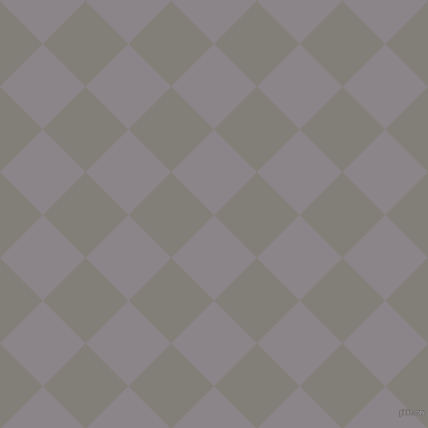 45/135 degree angle diagonal checkered chequered squares checker pattern checkers background, 86 pixel square size, , Taupe Grey and Concord checkers chequered checkered squares seamless tileable