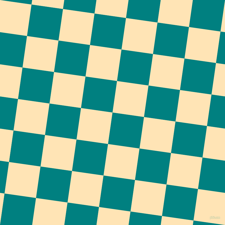 82/172 degree angle diagonal checkered chequered squares checker pattern checkers background, 111 pixel squares size, , Teal and Moccasin checkers chequered checkered squares seamless tileable