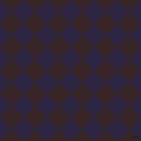 45/135 degree angle diagonal checkered chequered squares checker pattern checkers background, 68 pixel squares size, , Tolopea and Aubergine checkers chequered checkered squares seamless tileable
