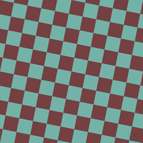 79/169 degree angle diagonal checkered chequered squares checker pattern checkers background, 45 pixel square size, , Tosca and Gulf Stream checkers chequered checkered squares seamless tileable