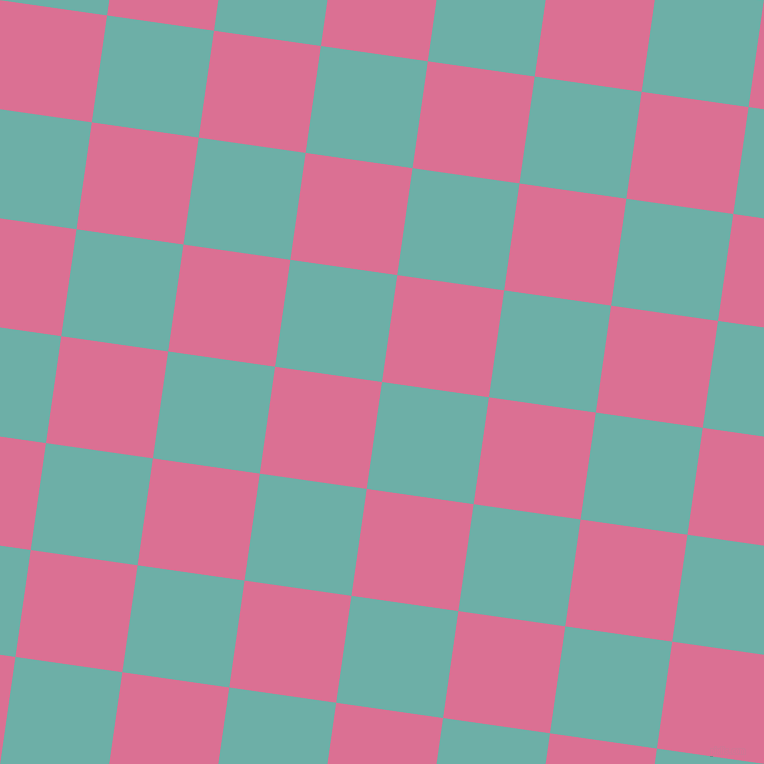 82/172 degree angle diagonal checkered chequered squares checker pattern checkers background, 108 pixel square size, , Tradewind and Pale Violet Red checkers chequered checkered squares seamless tileable