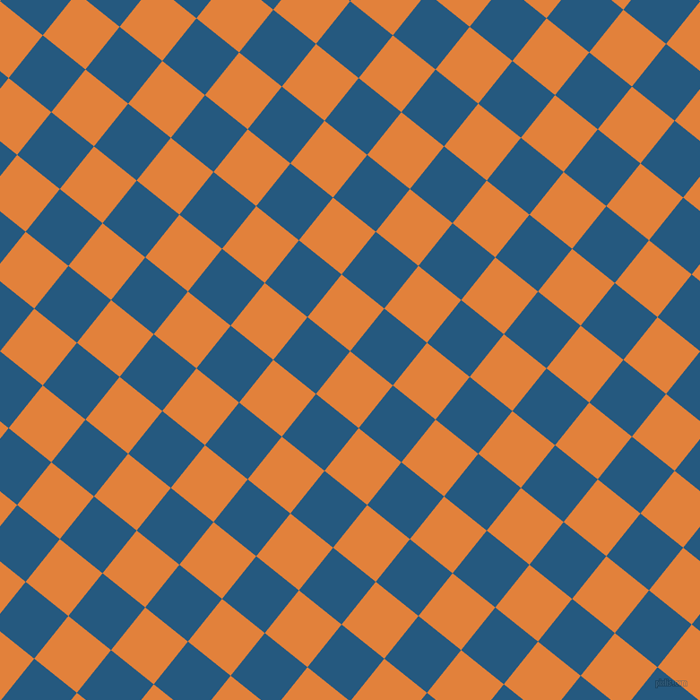 51/141 degree angle diagonal checkered chequered squares checker pattern checkers background, 61 pixel square size, , Tree Poppy and Bahama Blue checkers chequered checkered squares seamless tileable