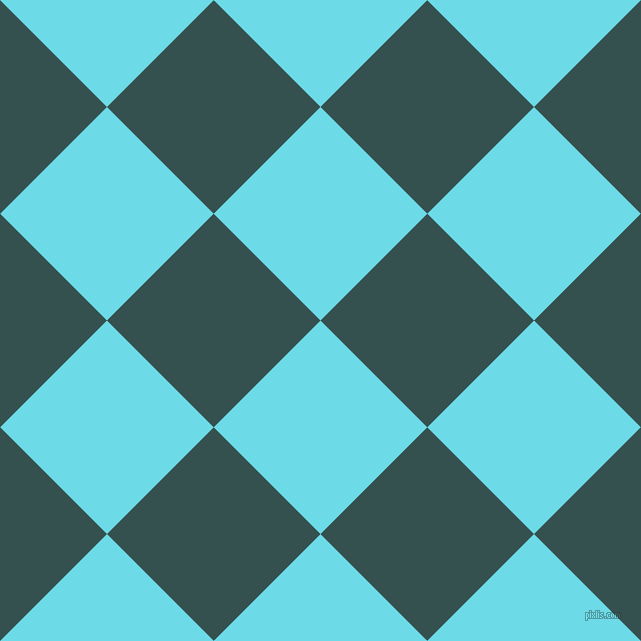 45/135 degree angle diagonal checkered chequered squares checker pattern checkers background, 151 pixel squares size, , Turquoise Blue and Blue Dianne checkers chequered checkered squares seamless tileable