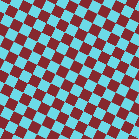 63/153 degree angle diagonal checkered chequered squares checker pattern checkers background, 43 pixel square size, , Turquoise Blue and Flame Red checkers chequered checkered squares seamless tileable