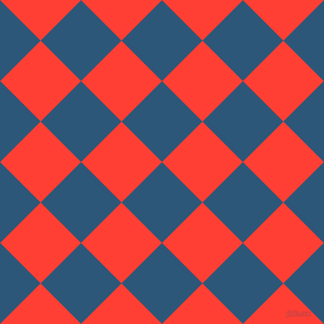 45/135 degree angle diagonal checkered chequered squares checker pattern checkers background, 83 pixel squares size, Venice Blue and Red Orange checkers chequered checkered squares seamless tileable