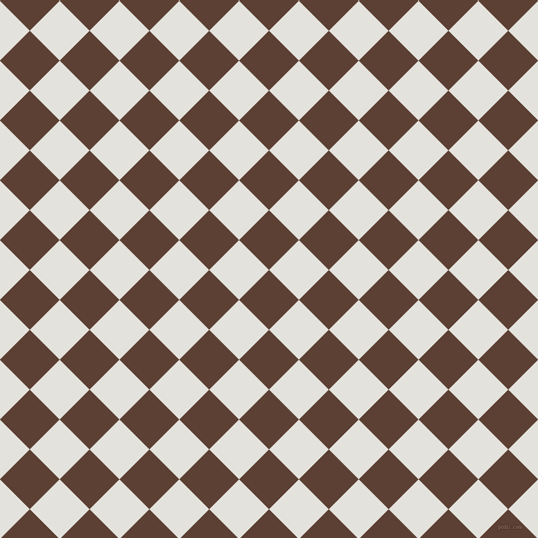 45/135 degree angle diagonal checkered chequered squares checker pattern checkers background, 61 pixel square size, , Very Dark Brown and Wan White checkers chequered checkered squares seamless tileable