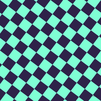 53/143 degree angle diagonal checkered chequered squares checker pattern checkers background, 41 pixel square size, , Violent Violet and Aquamarine checkers chequered checkered squares seamless tileable