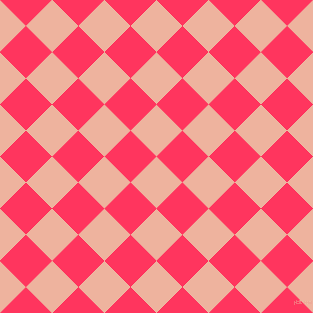 45/135 degree angle diagonal checkered chequered squares checker pattern checkers background, 74 pixel square size, Wax Flower and Radical Red checkers chequered checkered squares seamless tileable