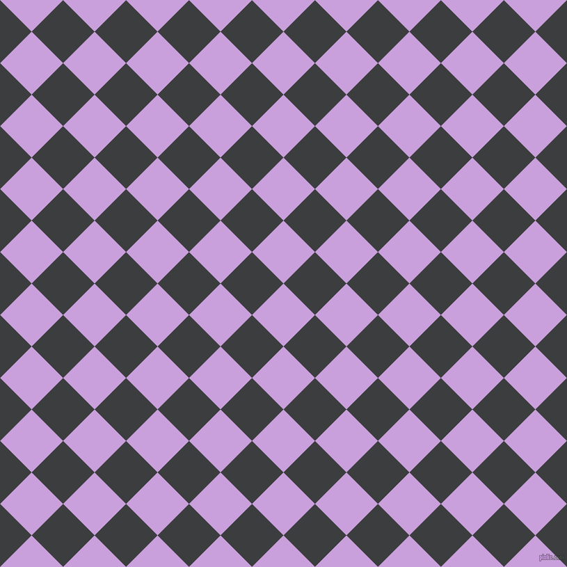 45/135 degree angle diagonal checkered chequered squares checker pattern checkers background, 64 pixel squares size, Wisteria and Baltic Sea checkers chequered checkered squares seamless tileable