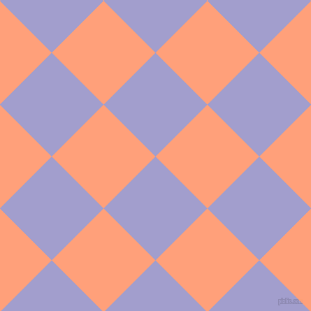 45/135 degree angle diagonal checkered chequered squares checker pattern checkers background, 105 pixel squares size, , Wistful and Light Salmon checkers chequered checkered squares seamless tileable