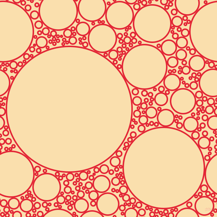 bubbles, circles, sponge, big, medium, small, 5 pixel line width, Alizarin and Peach-Yellow circles bubbles sponge soap seamless tileable