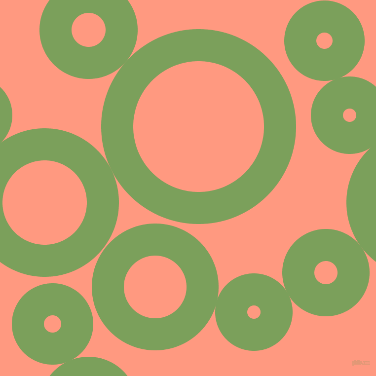 bubbles, circles, sponge, big, medium, small, 65 pixel line width, Asparagus and Vivid Tangerine circles bubbles sponge soap seamless tileable