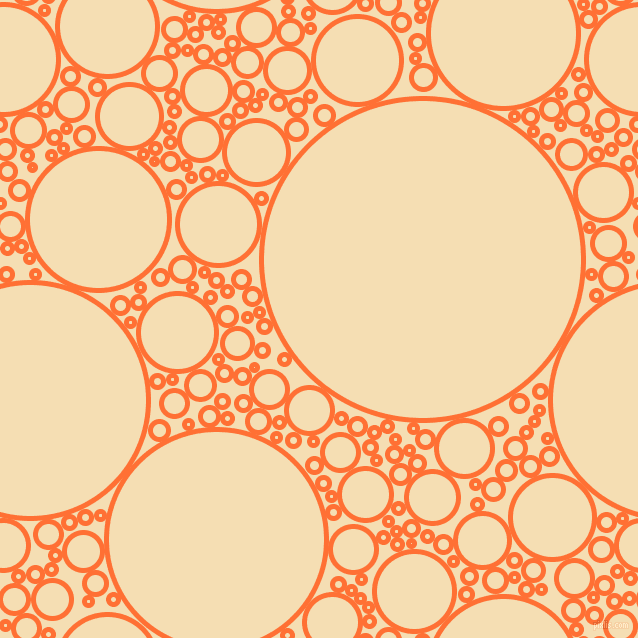 bubbles, circles, sponge, big, medium, small, 5 pixel line width, Burnt Orange and Wheat circles bubbles sponge soap seamless tileable