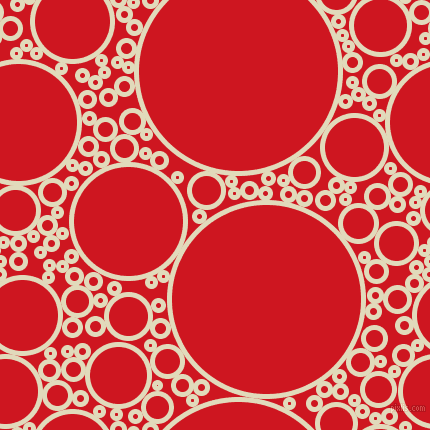 bubbles, circles, sponge, big, medium, small, 5 pixel line width, Coconut Cream and Fire Engine Red circles bubbles sponge soap seamless tileable