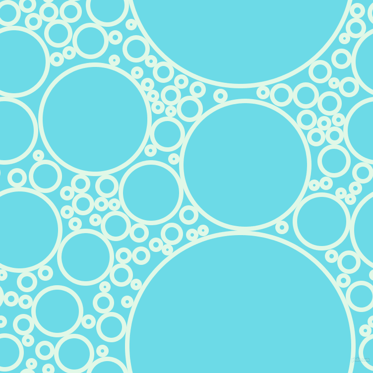 bubbles, circles, sponge, big, medium, small, 9 pixel line width, Cosmic Latte and Turquoise Blue circles bubbles sponge soap seamless tileable