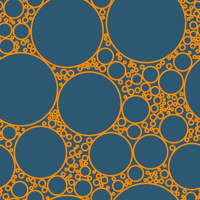 bubbles, circles, sponge, big, medium, small, 5 pixel line width, Dark Orange and Chathams Blue circles bubbles sponge soap seamless tileable