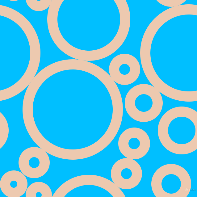bubbles, circles, sponge, big, medium, small, 33 pixel line width, Desert Sand and Deep Sky Blue circles bubbles sponge soap seamless tileable