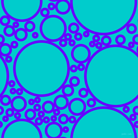 bubbles, circles, sponge, big, medium, small, 9 pixel line width, Electric Indigo and Robin