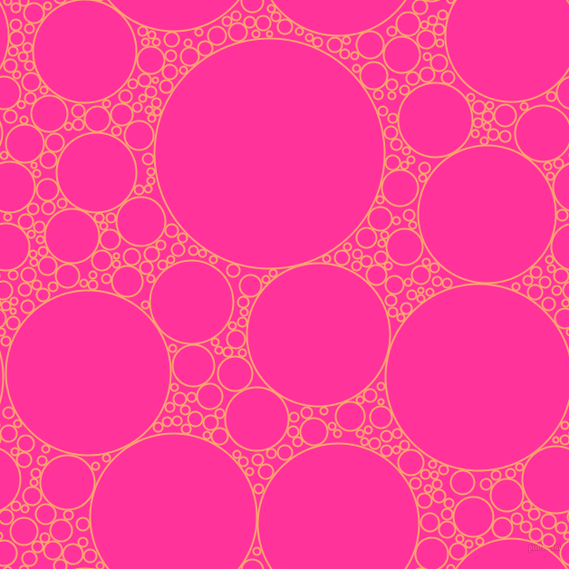 bubbles, circles, sponge, big, medium, small, 2 pixel line width, Hit Pink and Wild Strawberry circles bubbles sponge soap seamless tileable