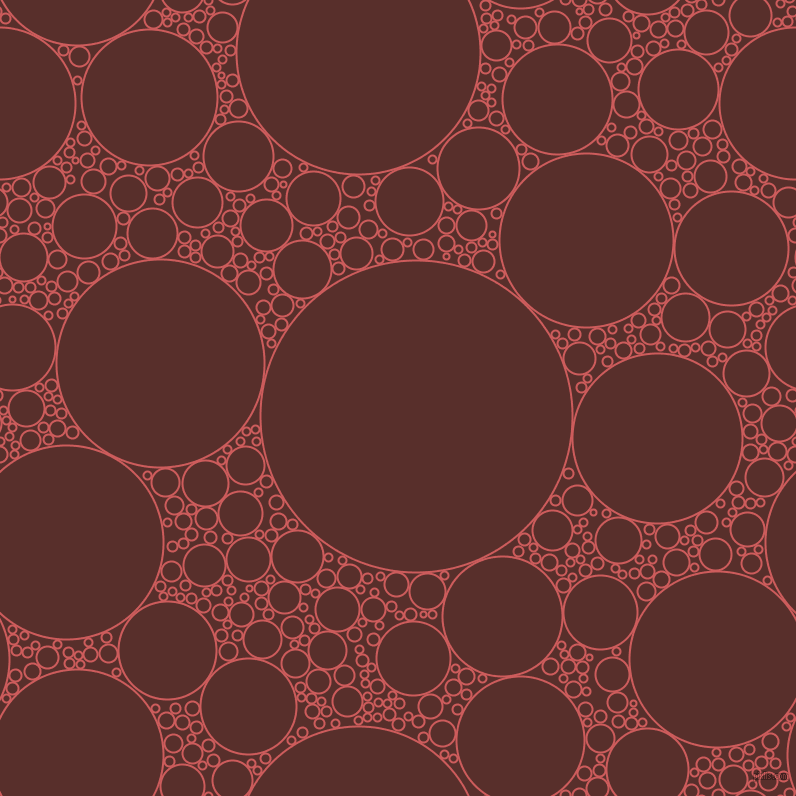 bubbles, circles, sponge, big, medium, small, 2 pixel line width, Indian Red and Moccaccino circles bubbles sponge soap seamless tileable