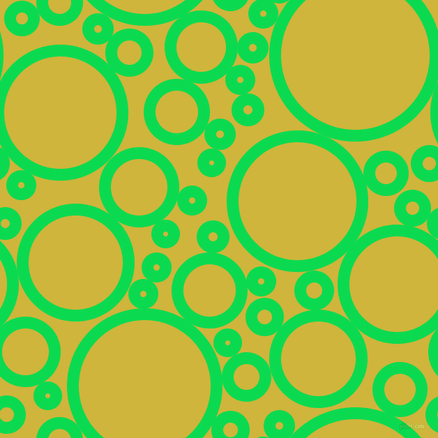 bubbles, circles, sponge, big, medium, small, 17 pixel line width, Malachite and Old Gold circles bubbles sponge soap seamless tileable