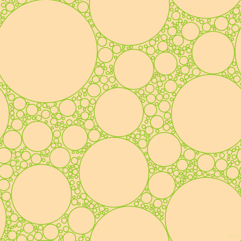 bubbles, circles, sponge, big, medium, small, 3 pixel line width, Yellow Green and Navajo White circles bubbles sponge soap seamless tileable