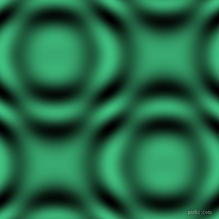 Medium Sea Green and Black and White circular plasma waves seamless tileable