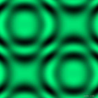Spring Green and Black and White circular plasma waves seamless tileable