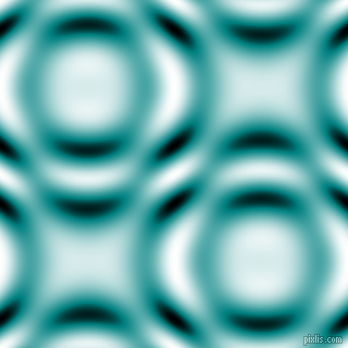 , Teal and Black and White circular plasma waves seamless tileable