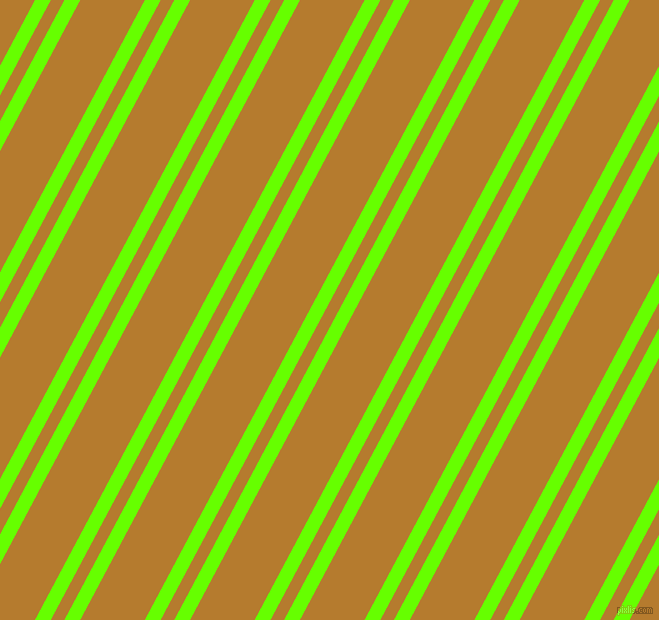 62 degree angles dual striped line, 14 pixel line width, 12 and 57 pixels line spacing, Bright Green and Mandalay dual two line striped seamless tileable