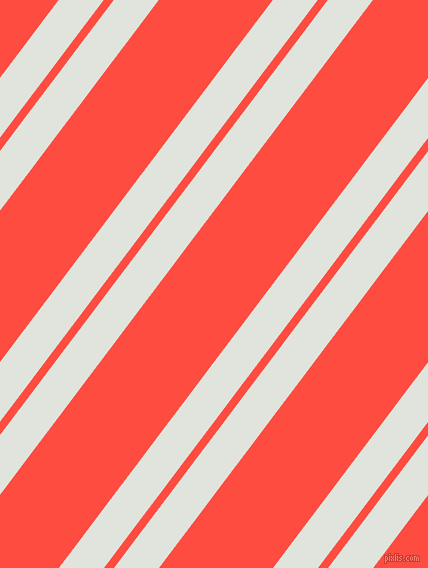 53 degree angle dual striped line, 36 pixel line width, 8 and 91 pixel line spacing, Catskill White and Sunset Orange dual two line striped seamless tileable