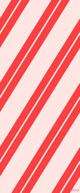 58 degree angles dual striped line, 27 pixel line width, 6 and 71 pixels line spacing, Coral Red and Misty Rose dual two line striped seamless tileable