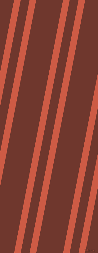 79 degree angle dual stripe line, 21 pixel line width, 28 and 85 pixel line spacing, Dark Coral and Mocha dual two line striped seamless tileable