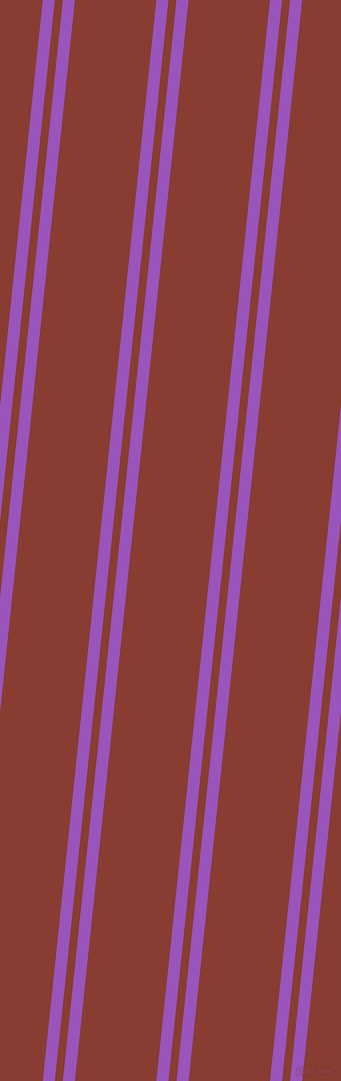 84 degree angles dual stripes line, 12 pixel line width, 8 and 81 pixels line spacing, Deep Lilac and Prairie Sand dual two line striped seamless tileable