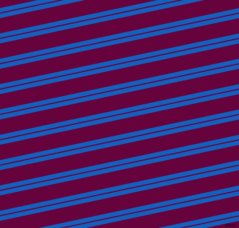 12 degree angles dual striped line, 15 pixel line width, 4 and 52 pixels line spacing, Denim and Tyrian Purple dual two line striped seamless tileable