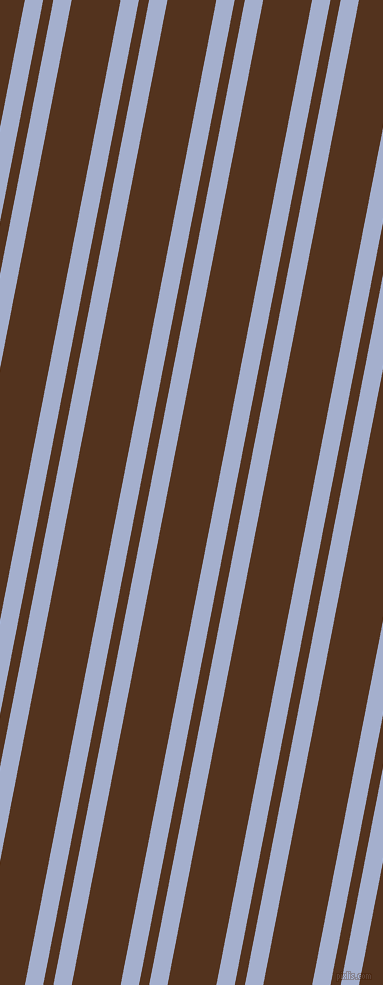 79 degree angles dual stripes lines, 18 pixel lines width, 10 and 48 pixels line spacing, Echo Blue and Brown Bramble dual two line striped seamless tileable