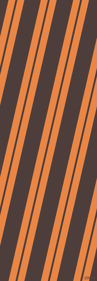 77 degree angle dual striped lines, 22 pixel lines width, 6 and 52 pixel line spacing, Flamenco and Crater Brown dual two line striped seamless tileable