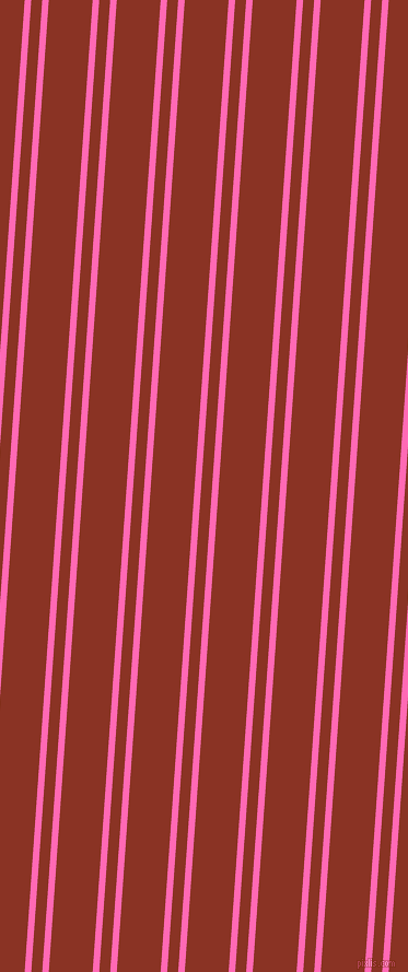 86 degree angles dual stripes lines, 6 pixel lines width, 10 and 40 pixels line spacing, Hot Pink and Burnt Umber dual two line striped seamless tileable