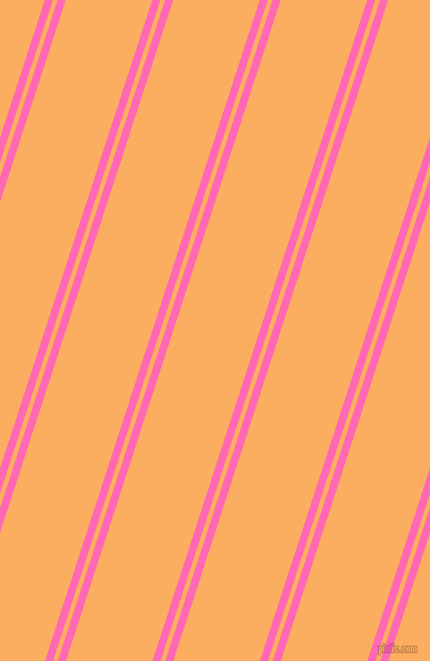 72 degree angle dual striped lines, 7 pixel lines width, 4 and 74 pixel line spacing, Hot Pink and Rajah dual two line striped seamless tileable