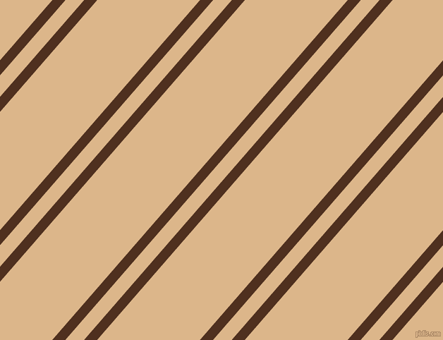 49 degree angle dual stripes lines, 14 pixel lines width, 20 and 110 pixel line spacing, Indian Tan and Brandy dual two line striped seamless tileable